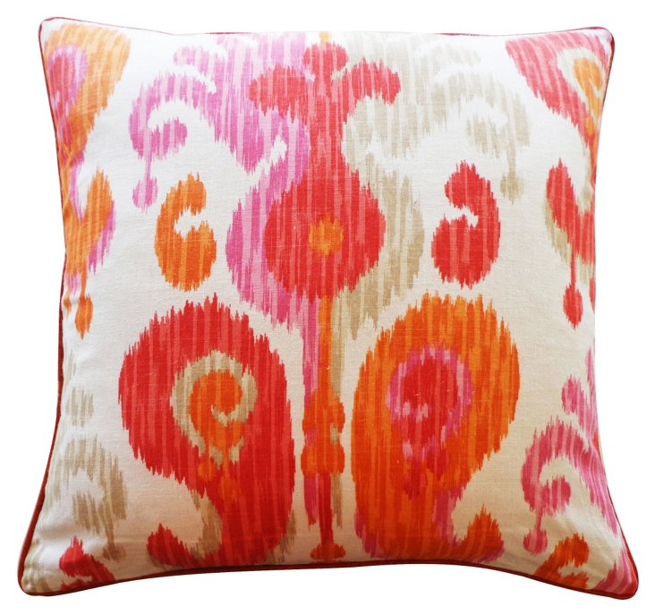 Ikat 24x24 Cotton Pillow, Pink/Multi