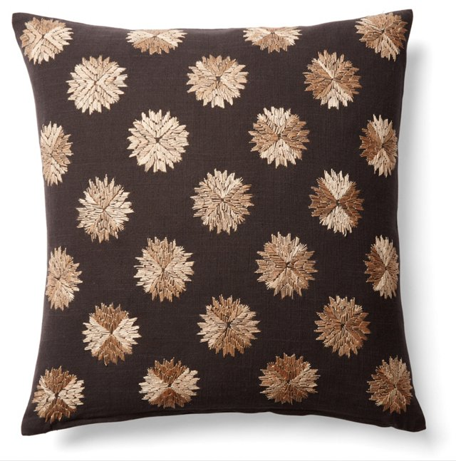Sufi 18x18 Embroidered Pillow, Brown