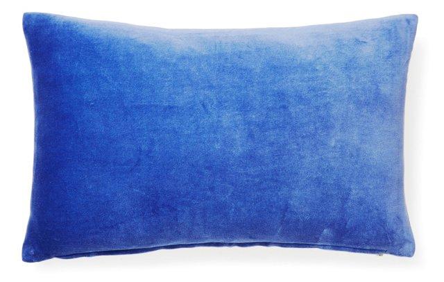Nina 12x20 Velvet Pillow, Blue