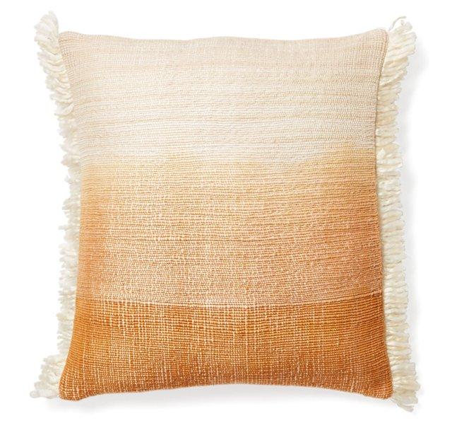 Striped 16x16 Cotton Pillow, Peach
