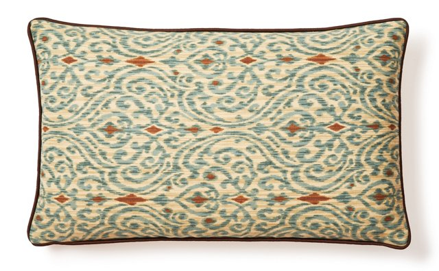 Lanie 12x20 Cotton Pillow, Teal/Brown