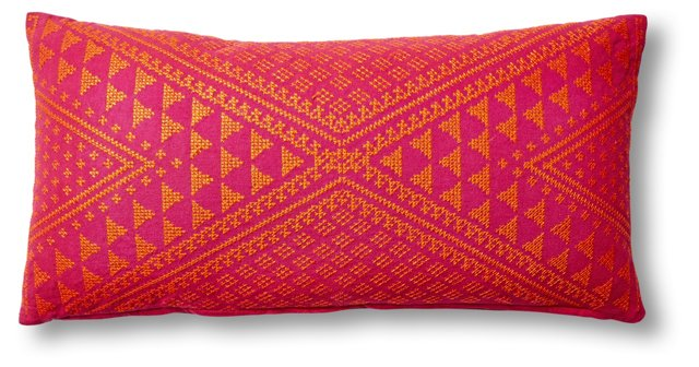 Macea 12x24 Embroidered Pillow, Pink