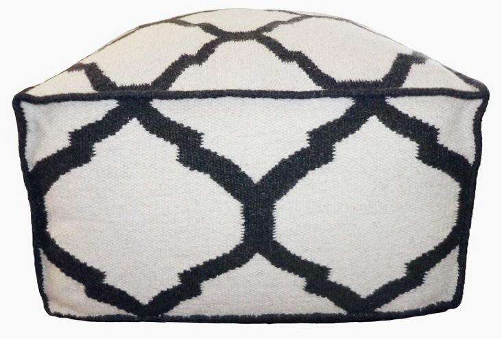Vase Outdoor Pouf, Black/Ivory