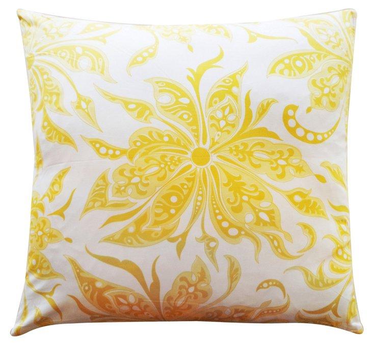Flucci 26x26 Cotton Pillow, Yellow