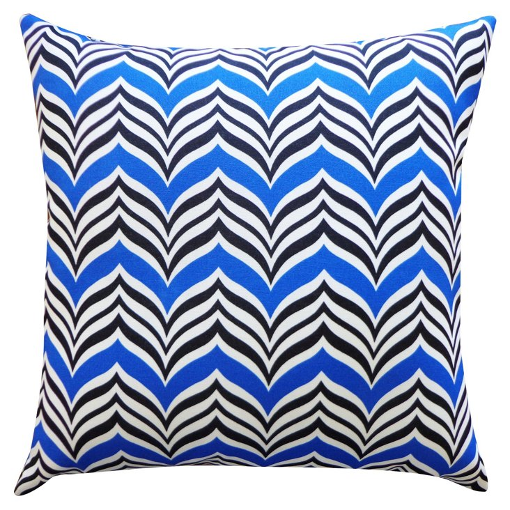 Tipped 20x20 Outdoor Pillow, Blue
