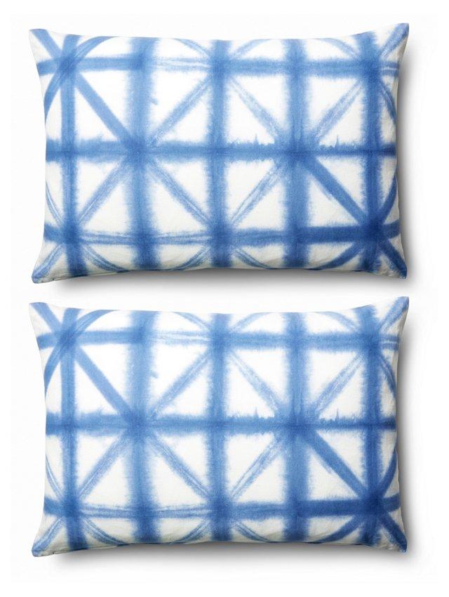 S/2 Butterfly 16x24 Cotton Pillows, Blue