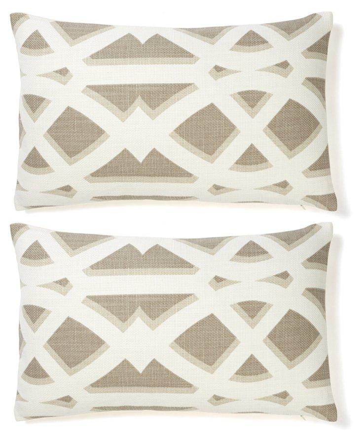 S/2 Criss 12x20 Cotton Pillows, Gray