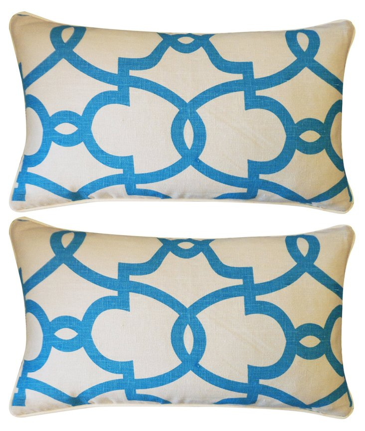 S/2 Dean 12x20 Pillows, Turquoise