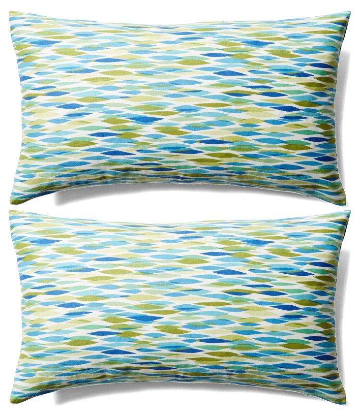 S/2 Pan 12x20 Cotton Pillows, Blue