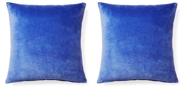 S/2 Nina 20x20 Velvet Pillows, Violet
