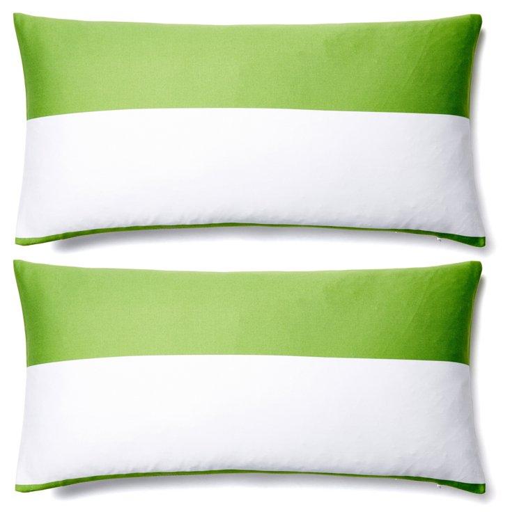 S/2 Duo 12x24 Cotton Pillows, Green