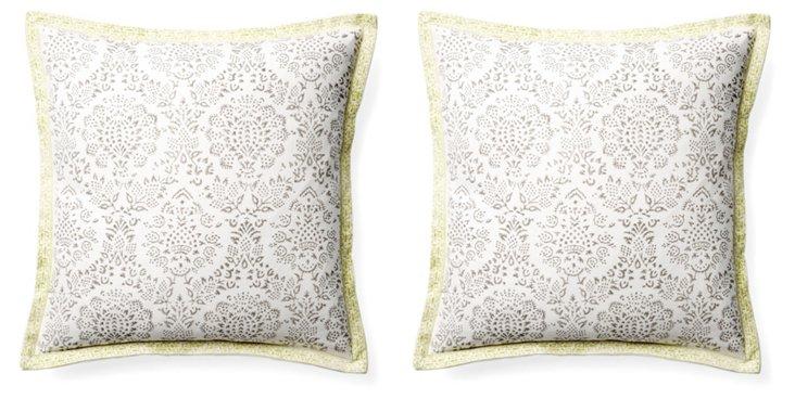 S/2 Ratan 16x16 Cotton Pillows, Gray
