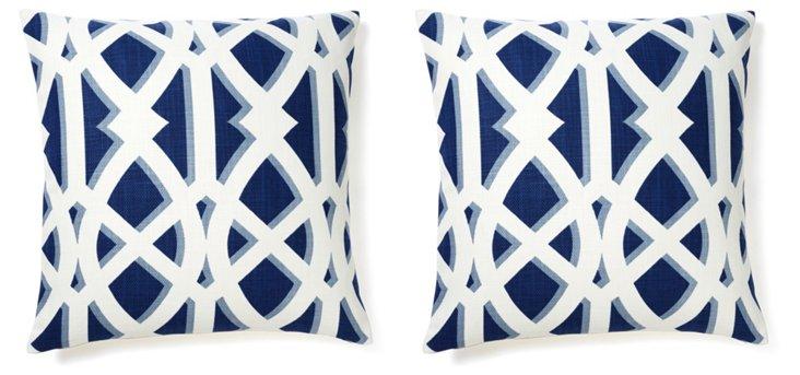 S/2 Criss 20x20 Cotton Pillows, Navy