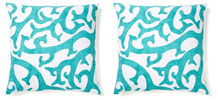 S/2 Reef 20x20 Cotton Pillows, Teal