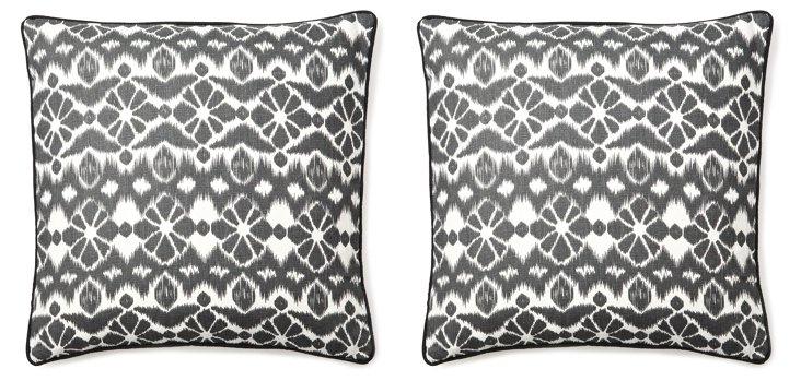 S/2 Suzani 20x20 Linen Pillows, Black
