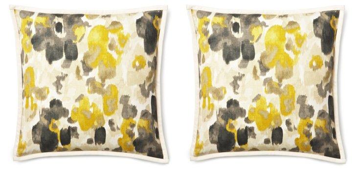 S/2 Abstract 20x20 Linen Pillows, Yellow