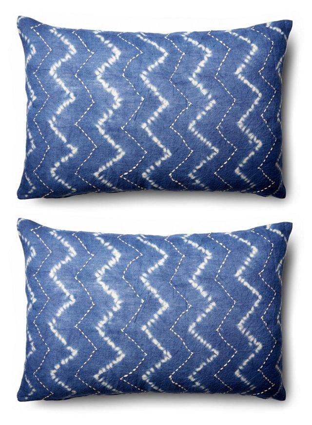 S/2 Tie-Dye 16x24 Cotton Pillows, Blue