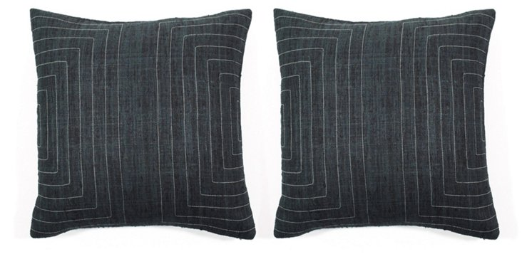 S/2 Streams 20x20 Silk Pillows, Charcoal