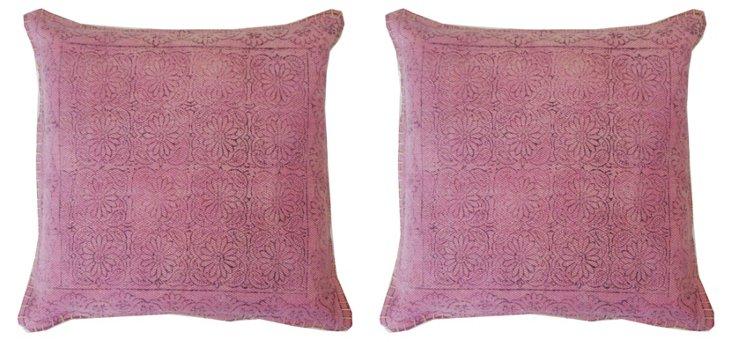 S/2 Art 20x20 Cotton Pillows, Purple