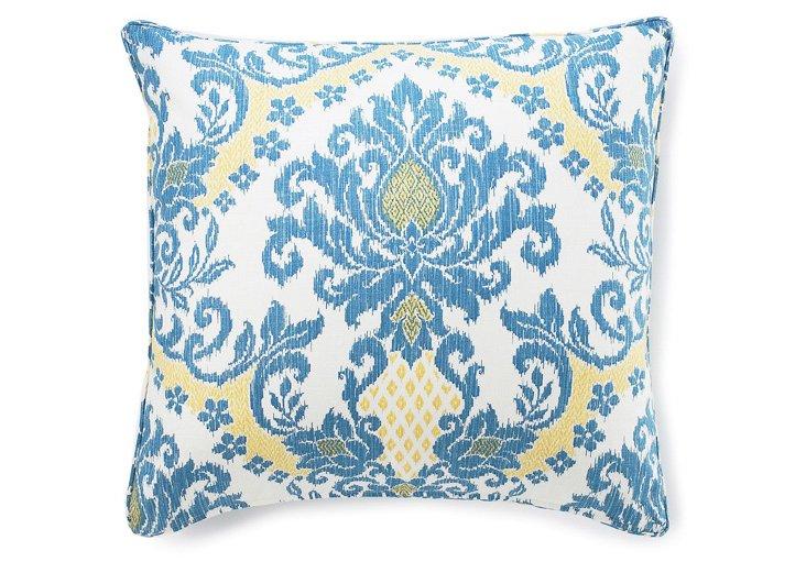 Ikat 26x26 Cotton Pillow, Blue