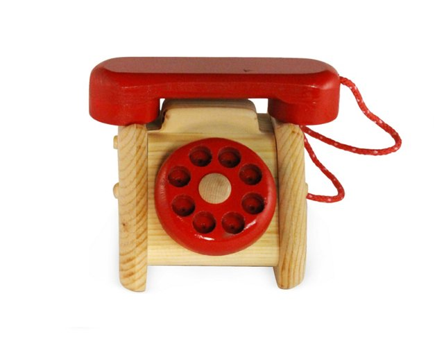 Wooden Telephone with Rotary Dial, Red