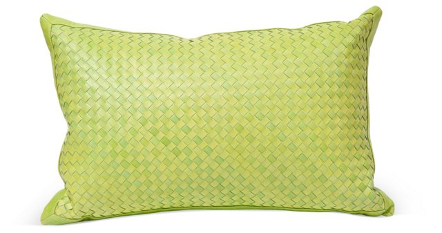 Watercolor 12x20 Leather Pillow, Green