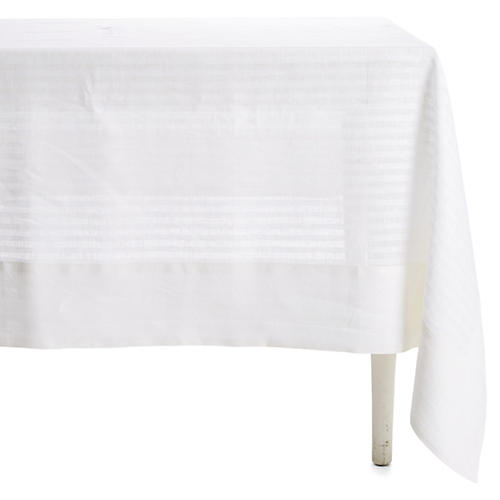 Greenwich Wine-Resistant Tablecloth, White