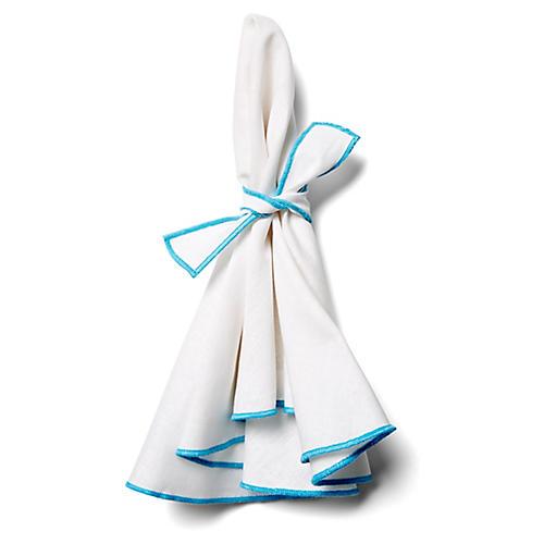 S/4 Napa Dinner Napkins, White/Turquoise