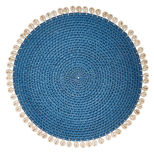 S/4 Shelby Place Mats, Blue/Ivory
