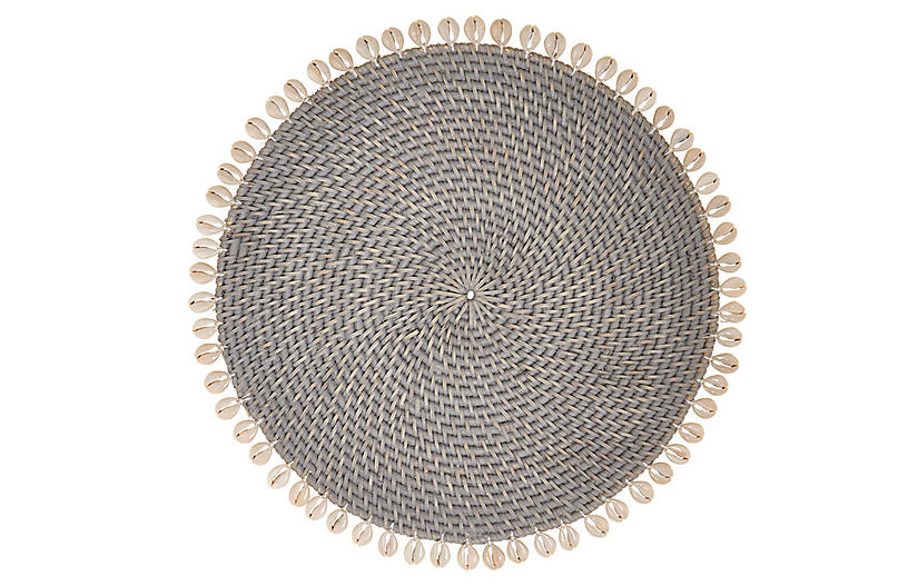 S/4 Shelby Place Mats, Gray/Ivory