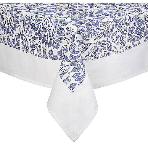 Santorini Tablecloth, Blue/White