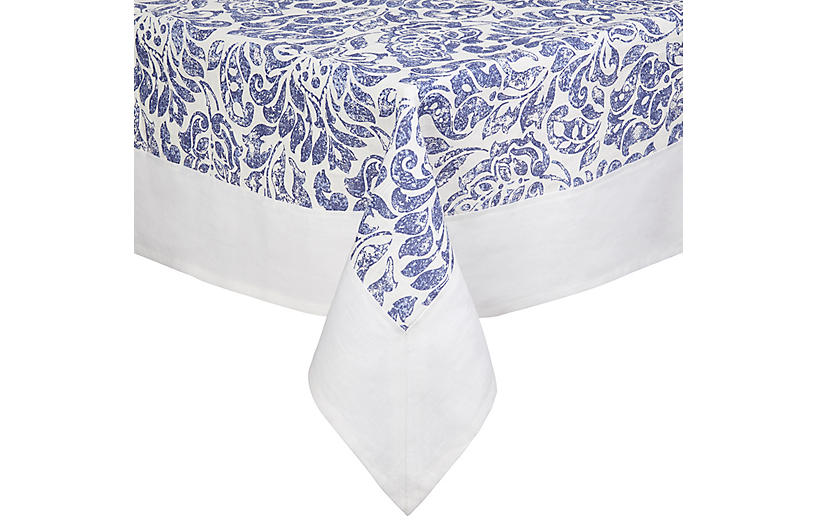 Santorini Tablecloth, Blue/White
