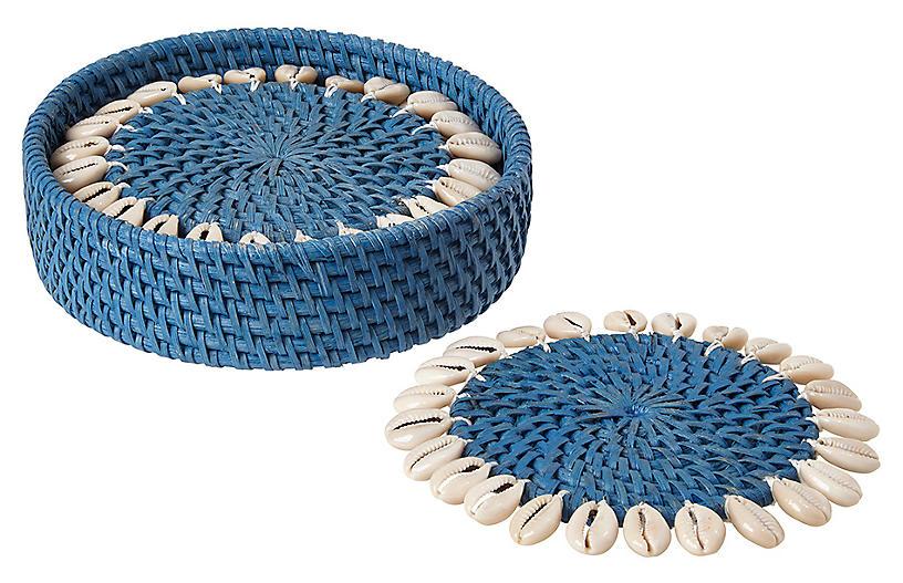 S/4 Shelby Coasters, Blue/Ivory