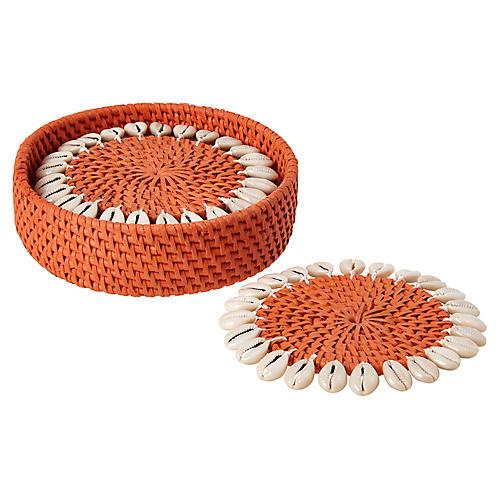 S/4 Shelby Coasters, Orange/Ivory