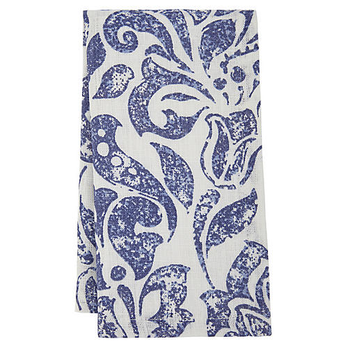 S/4 Santorini Dinner Napkins, Blue/White