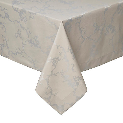 Carrara Tablecloth, Taupe/Silver