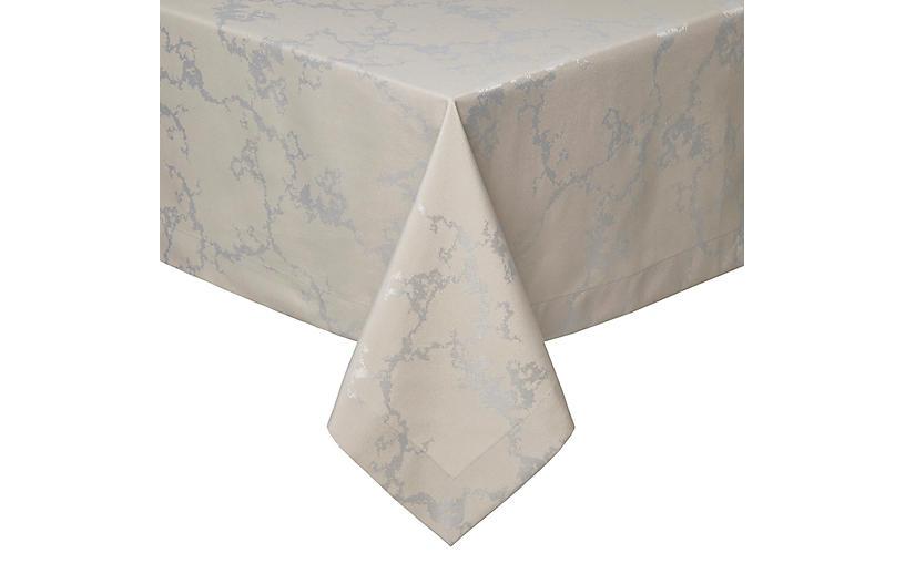 Carrara Tablecloth, Taupe/Silver