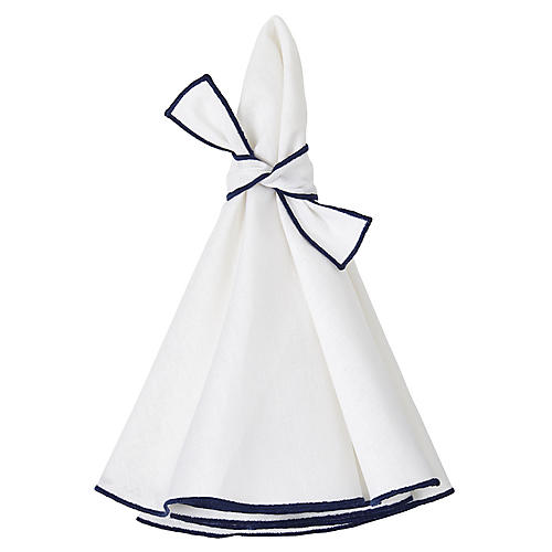 S/4 Napa Dinner Napkins, White/Navy