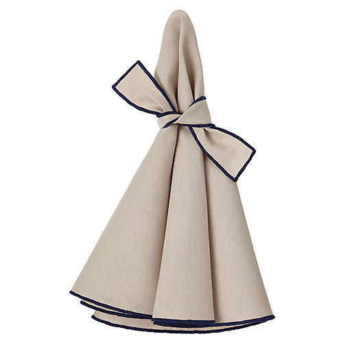 S/4 Napa Dinner Napkins, Beige/Navy