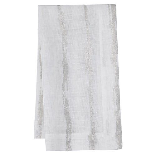 S/4 Cannes Dinner Napkins, White/Silver