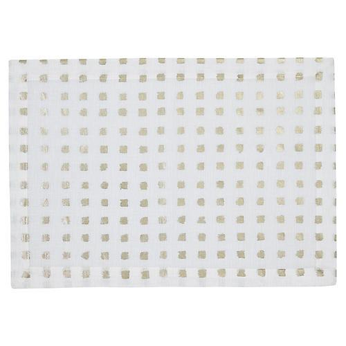 S/4 Antibes Place Mats, White/Gold