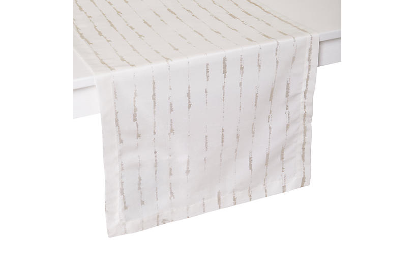 Cannes Table Runner, White/Silver