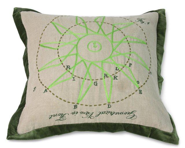 Geometric Pillow, View Green