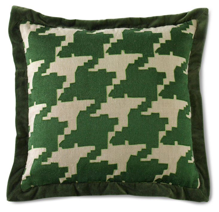Large Houndstooth Pillow, Green