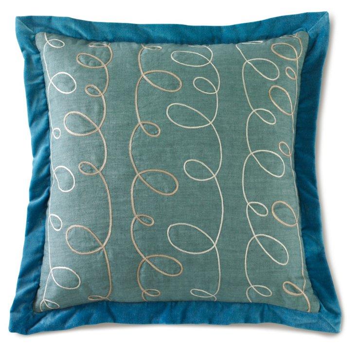 Scrolls Pillow, Traditional Blue