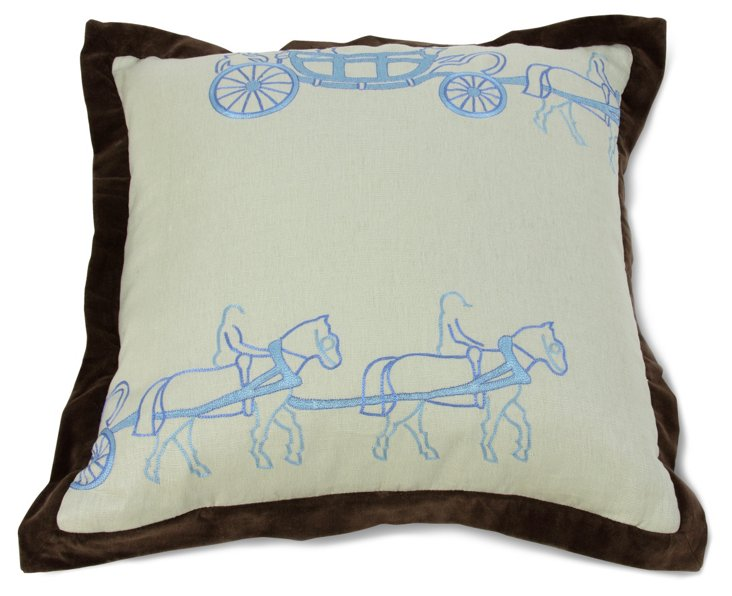 Two Horse Carriage Pillow, Blue