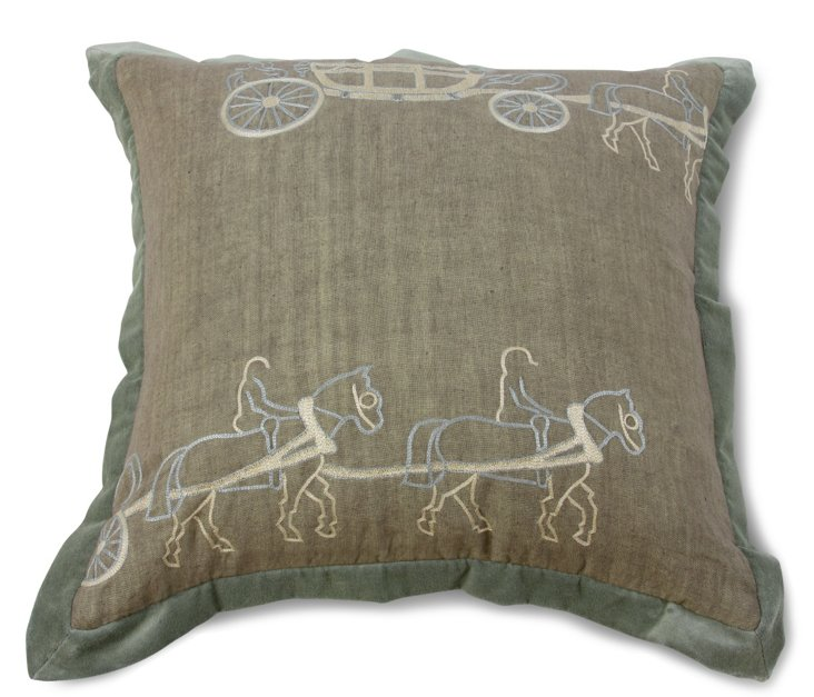 Two Horse Carriage Pillow, Taupe