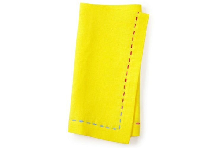 S/4 Yellow Napkins w/ Multi Ribbon