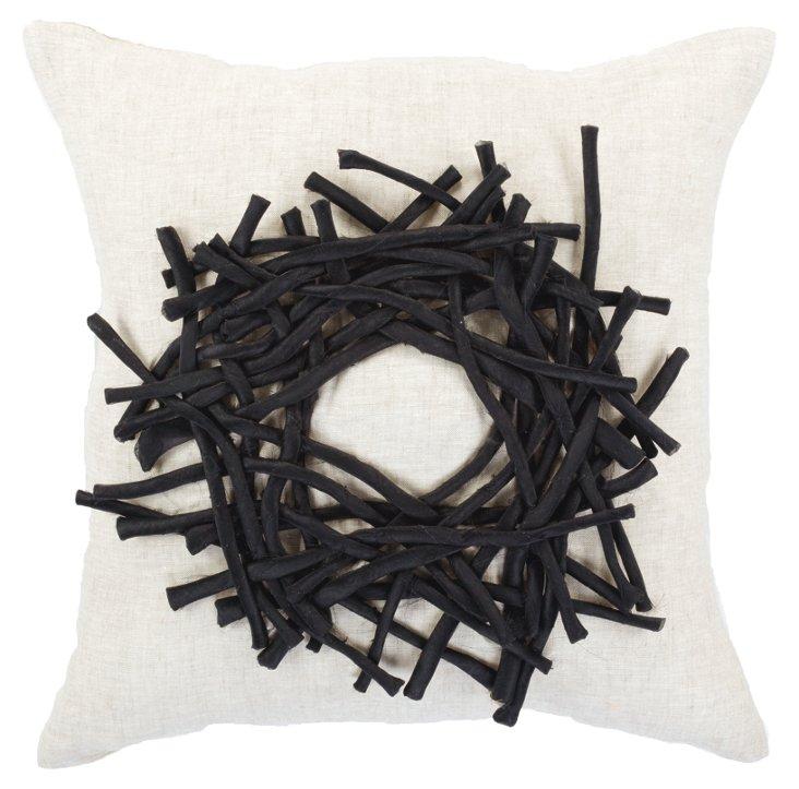 Linen Birds Nest 18x18 Pillow, White