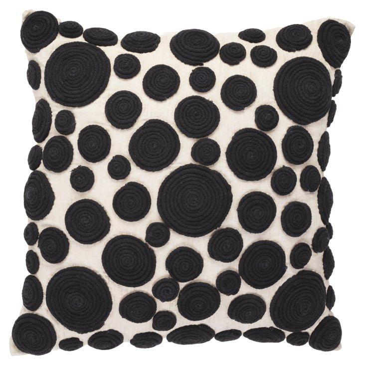 Snail 18x18 Pillow, Black